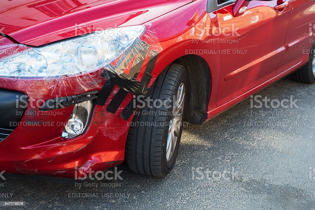 Temporary car repair after accident stock photo