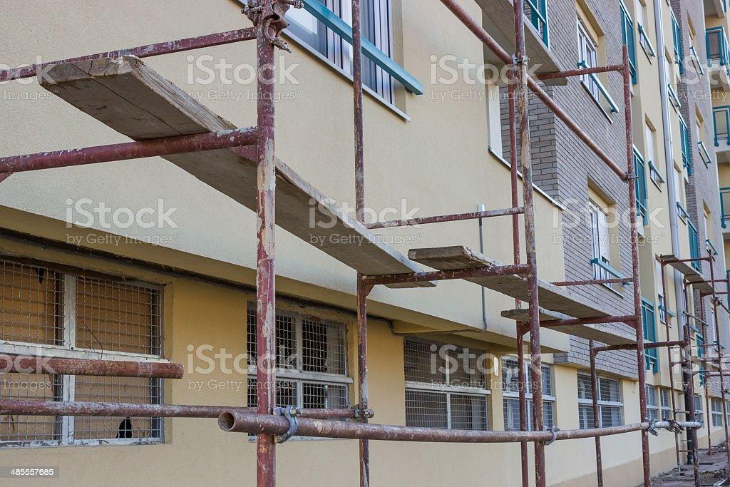 temporary scaffolding system stock photo