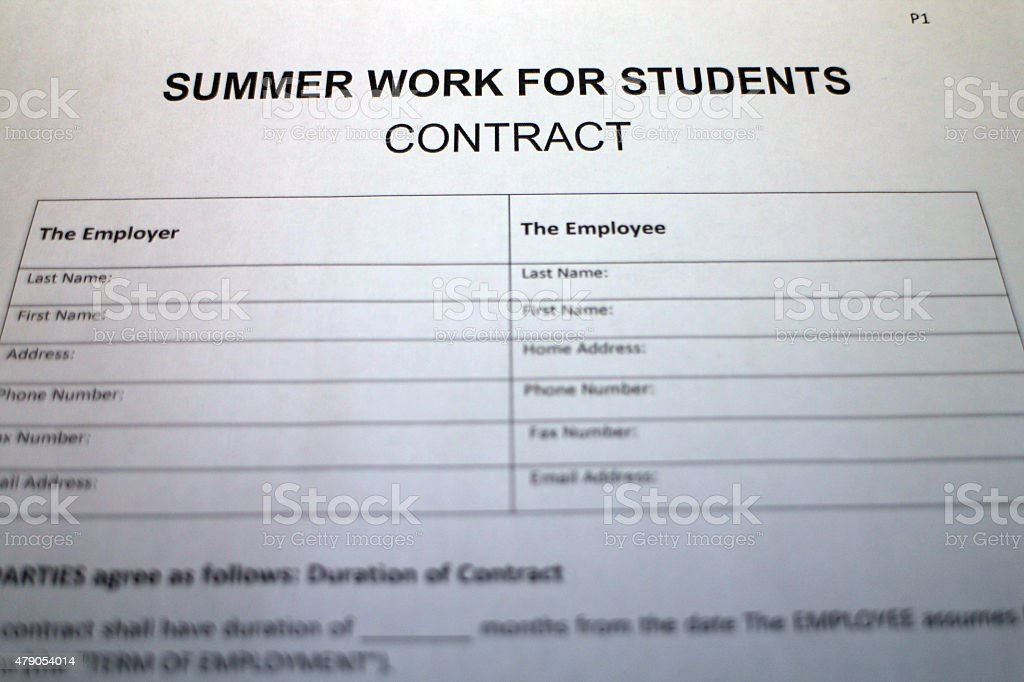 Temporary Work Contract Agreement Stock Photo   Istock