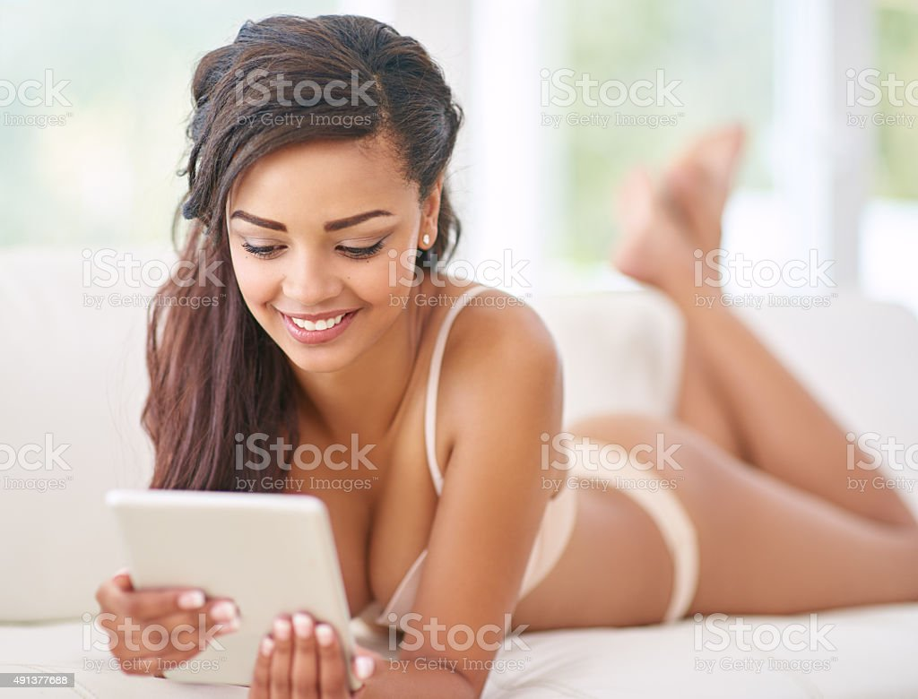 Temptation on a tablet stock photo