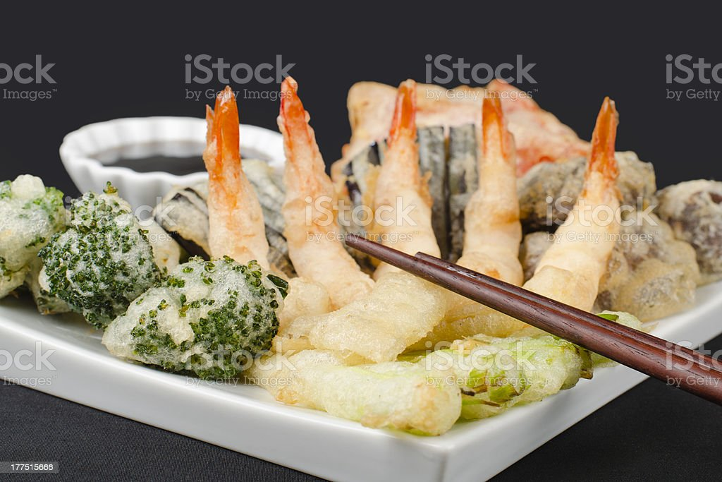 Tempura - Japanese Deep Fried Prawns and Assorted Vegetables royalty-free stock photo