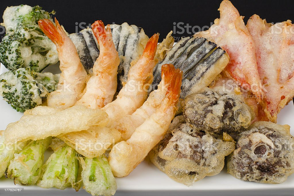 Tempura - Japanese Deep Fried Prawns and Assorted Vegetables stock photo