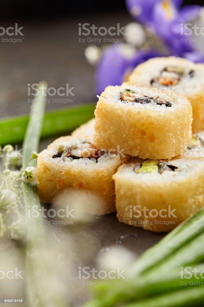 Tempura Maki Sushi Roll stock photo