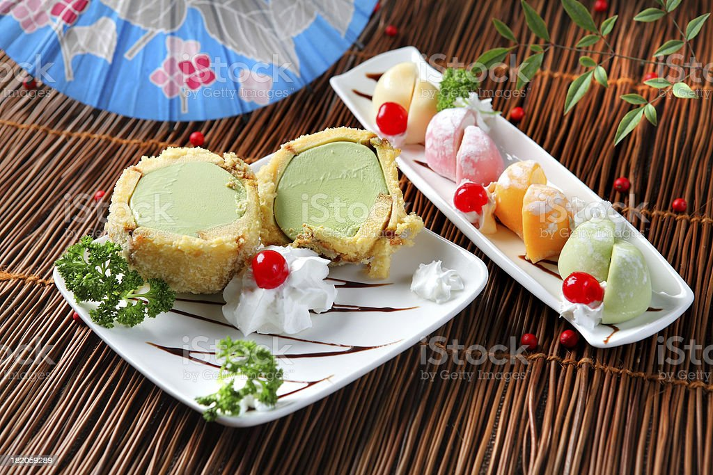 Tempura & Mochi Ice cream royalty-free stock photo