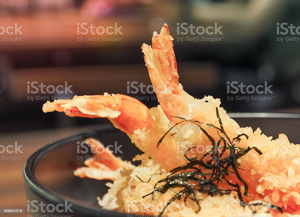 Tempura (Shrimp) on rice ,Japanese cuisine stock photo