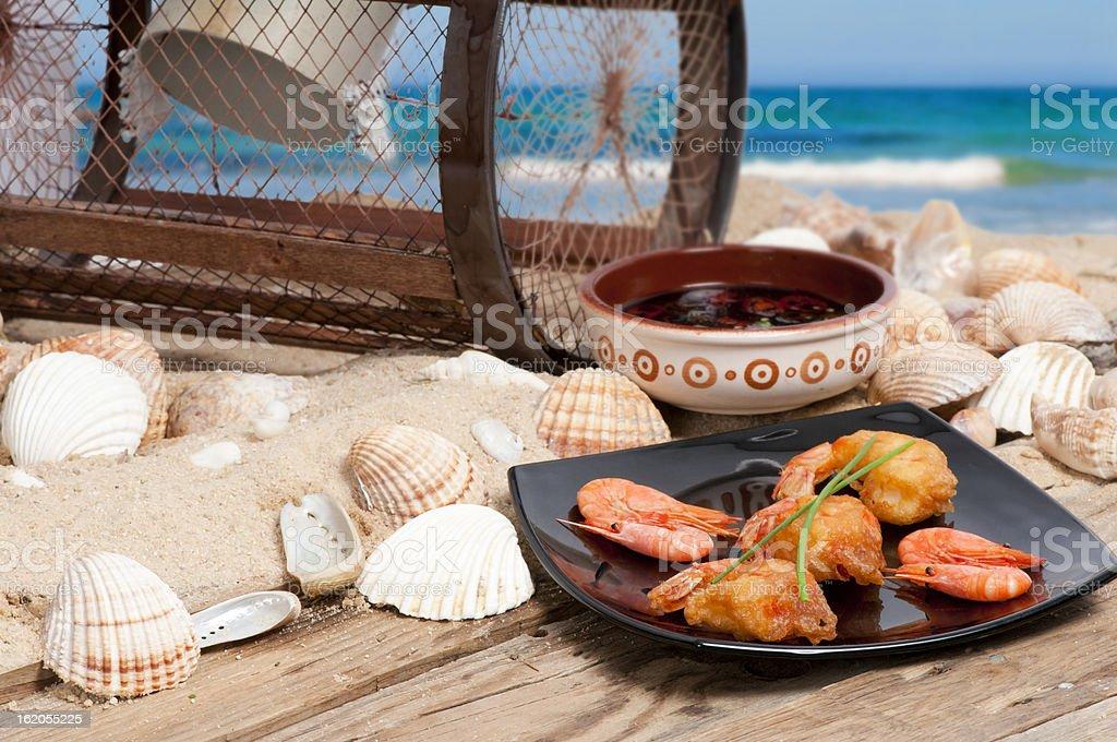 Tempura prawns on the beach royalty-free stock photo