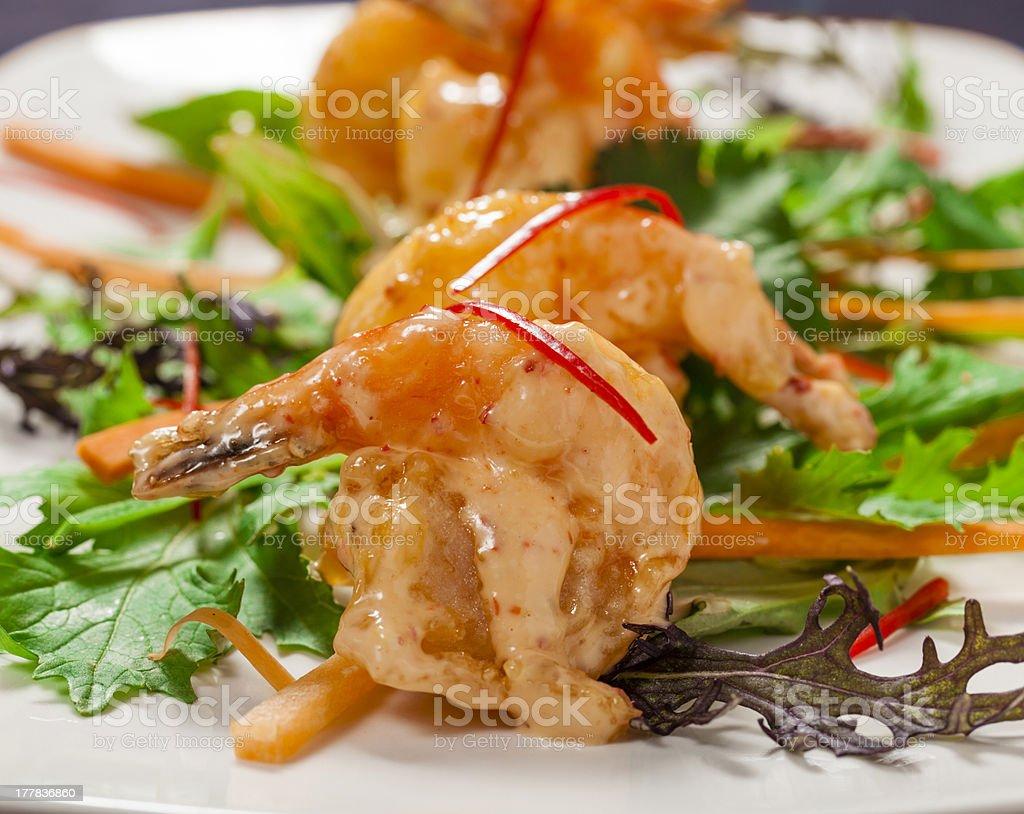 Tempura prawns royalty-free stock photo
