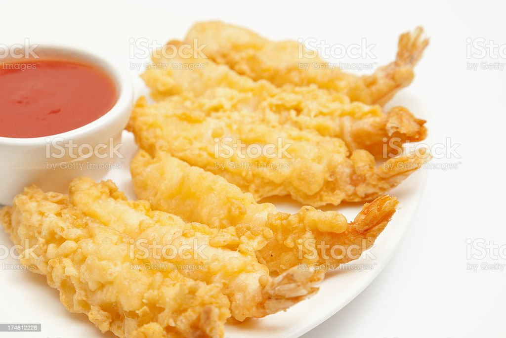 Tempura prawns with hot and sour dip royalty-free stock photo