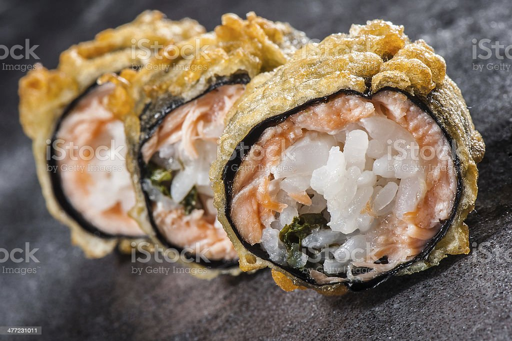 Tempura roll with salmon and scallop stock photo