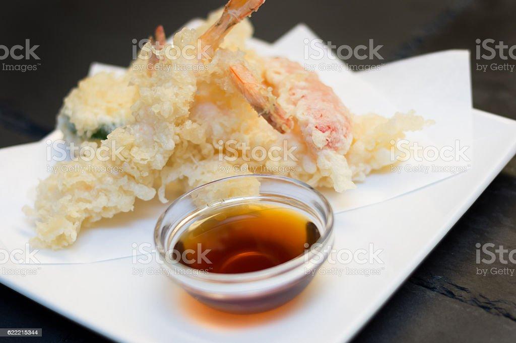 Tempura shrimps with soy sauce stock photo