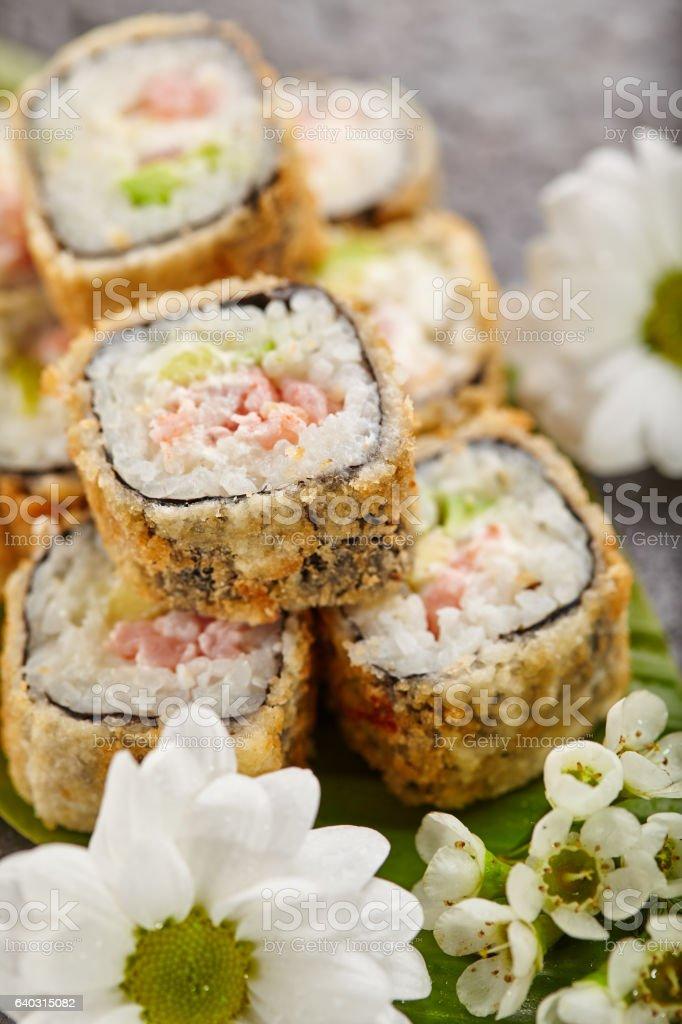 Tempura Sushi Roll stock photo