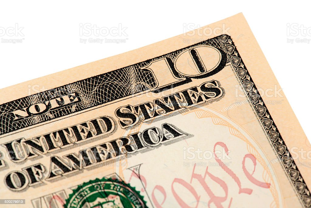 Ten American Dollar Bill stock photo