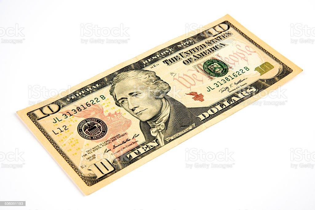 Ten American Dollar Bill stock photo
