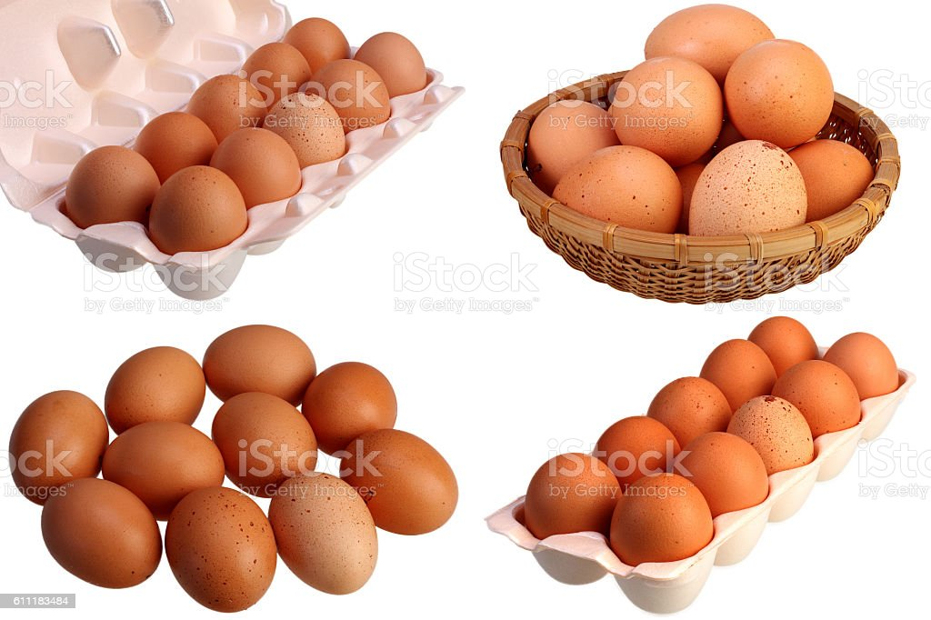 Ten brown hens eggs isolated on white background set stock photo