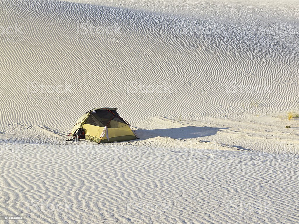 Deset camping stock photo