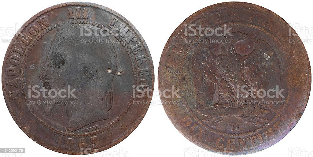 Ten Centimes coin used in 19th century France stock photo