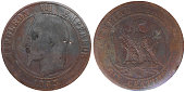 Ten Centimes coin used in 19th century France