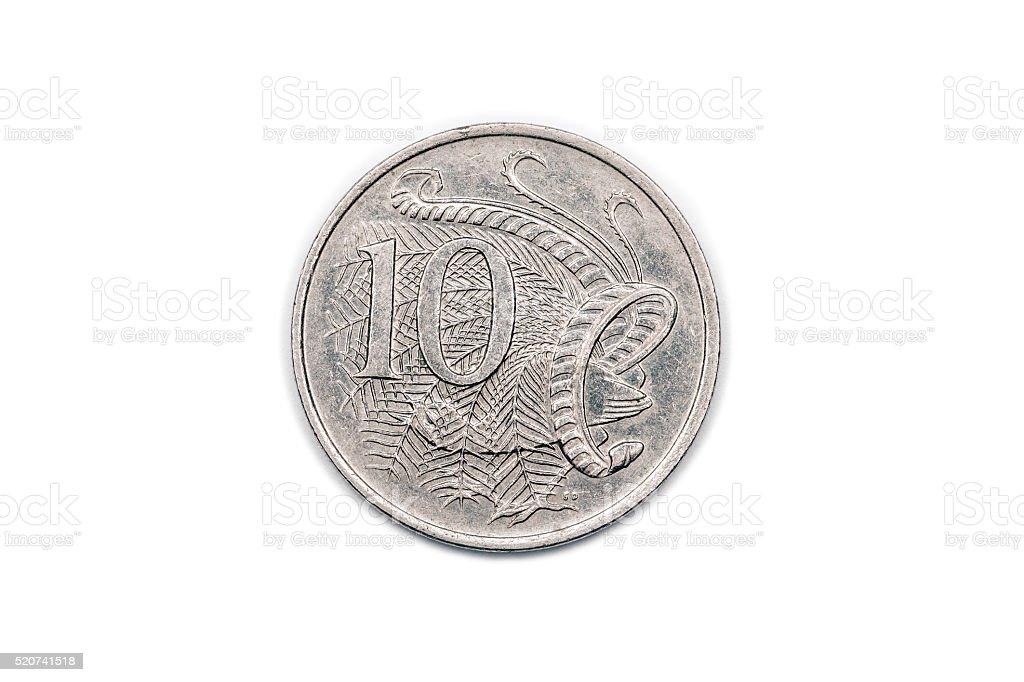 Ten Cents coin from Australia 1980 reverse stock photo