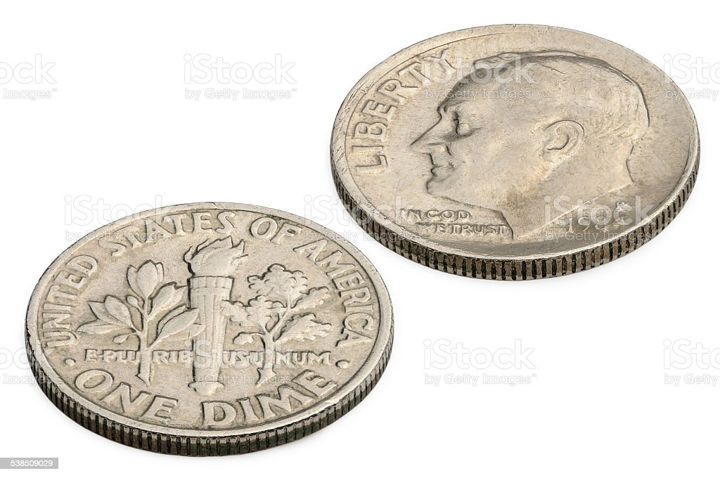 U.S. ten cents coin isolated on white background. stock photo