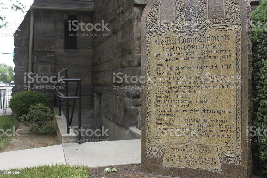 Ten Commandments in stone royalty-free stock photo