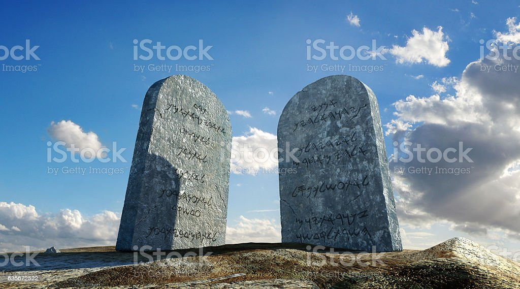 Ten commandments stones, viewed from ground level stock photo