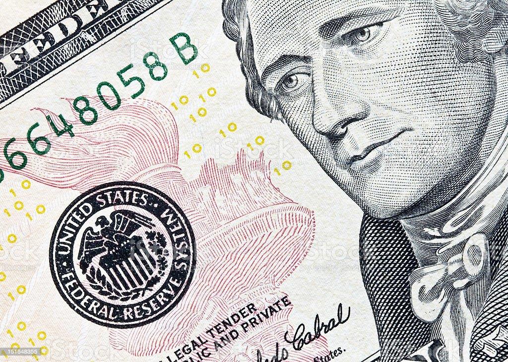 ten dollar bill focus on federal reserve seal stock photo