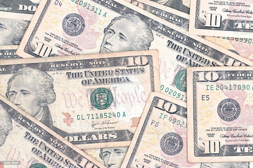 Ten Dollar Bills stock photo