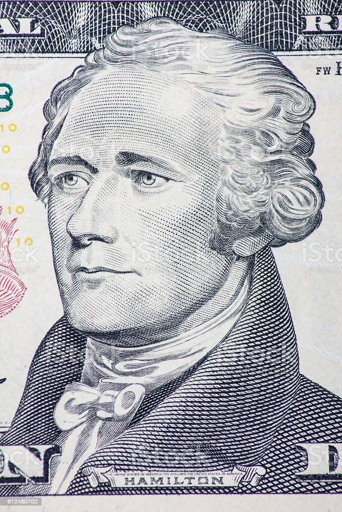 Ten dollar note detail stock photo