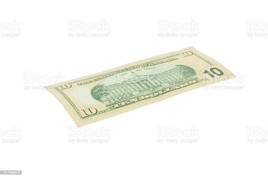 Ten dollar United states currency on white stock photo