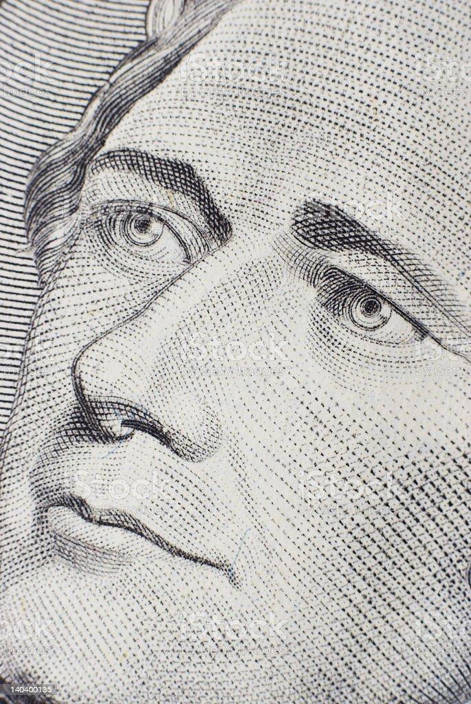 Ten dollars note closeup royalty-free stock photo