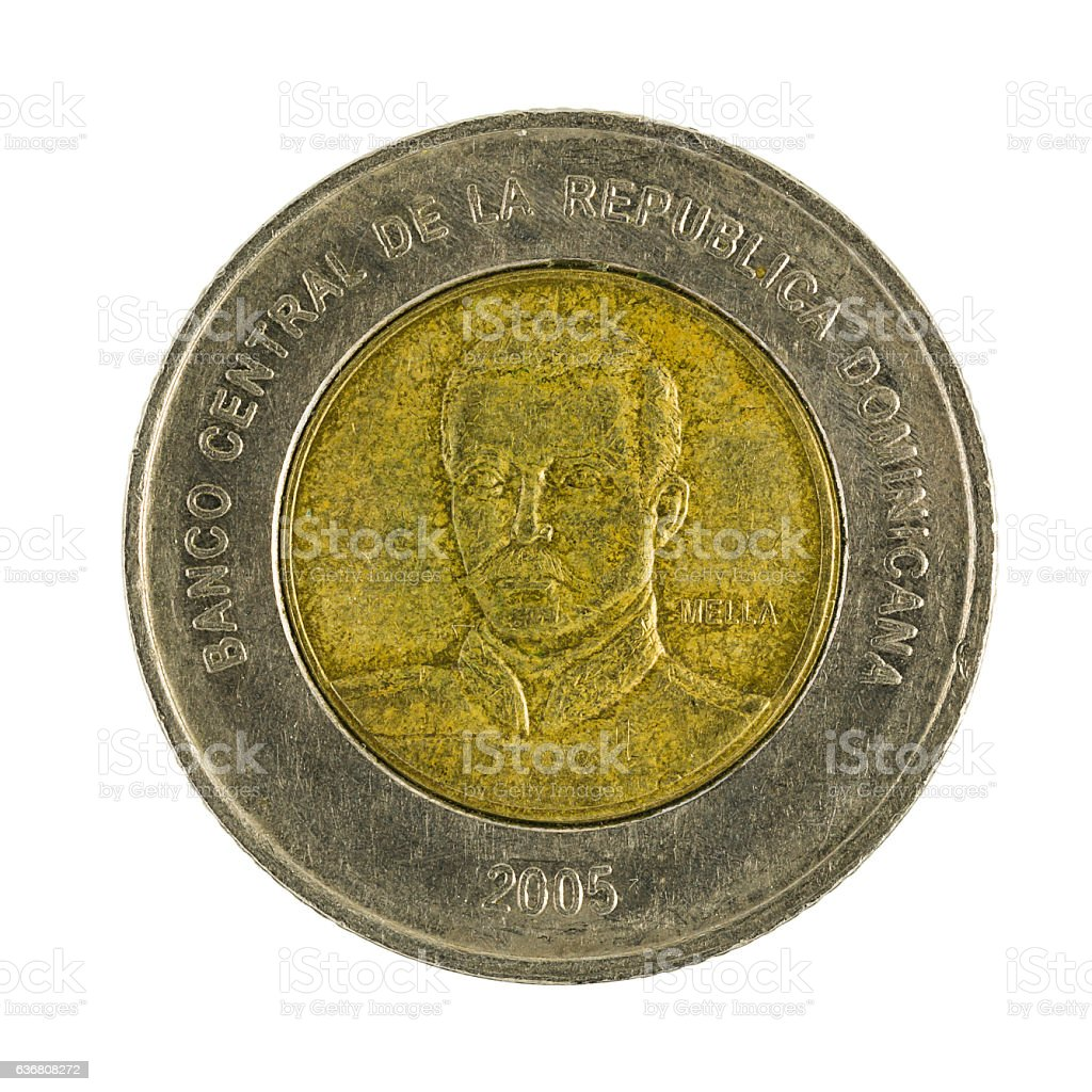 ten Dominican pesos coin (2005) isolated on white background stock photo