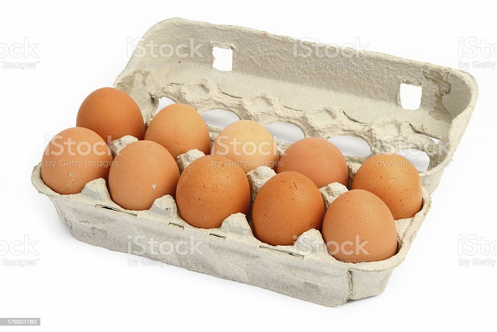 ten eggs in a box royalty-free stock photo