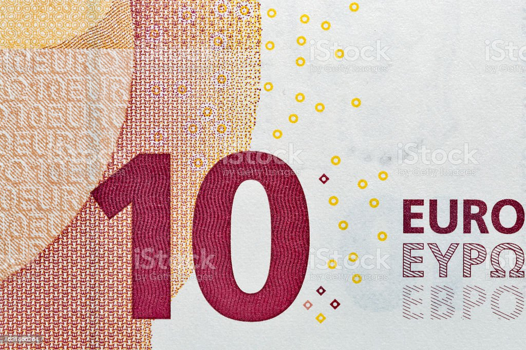 Ten Euro banknote closeup stock photo