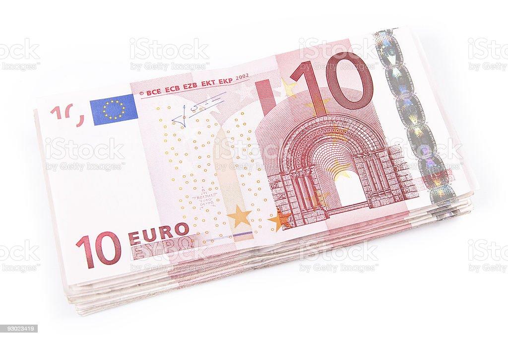 Ten euro banknotes royalty-free stock photo