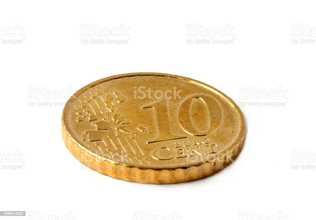 Ten euro cent coin on white background stock photo