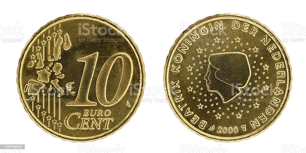 Ten euro cent coin on white stock photo