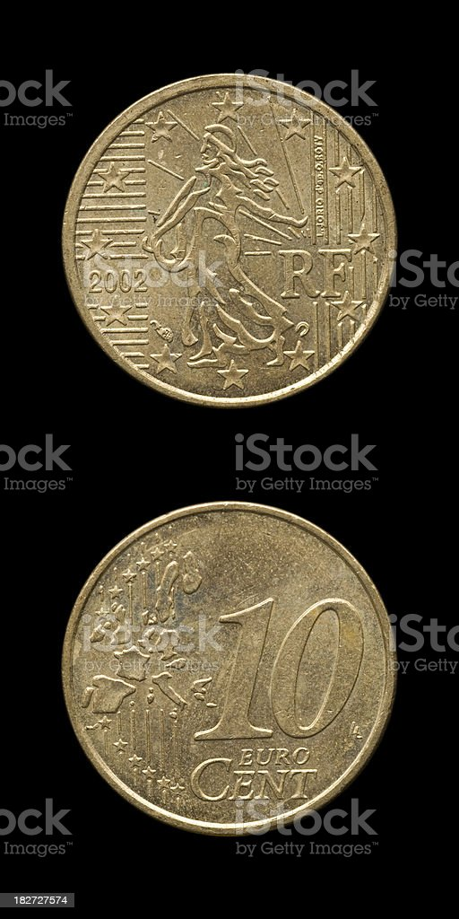 Ten euro Cent France royalty-free stock photo