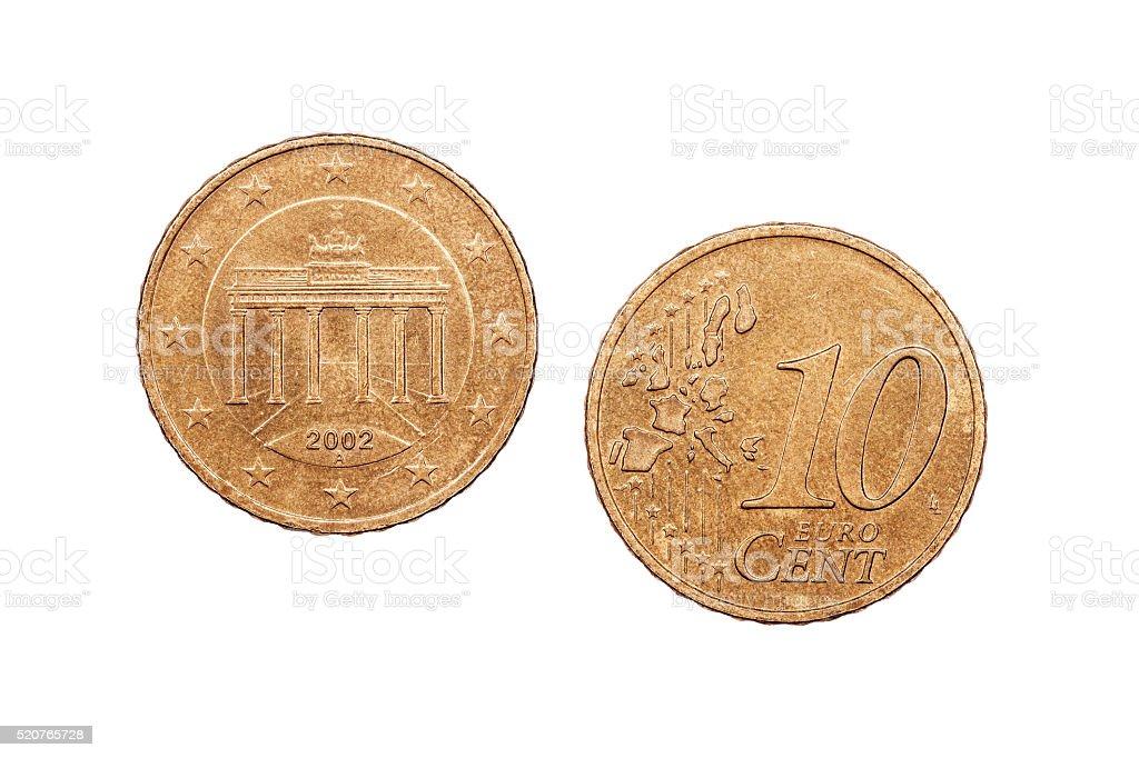 Ten Euro cents 2002 stock photo