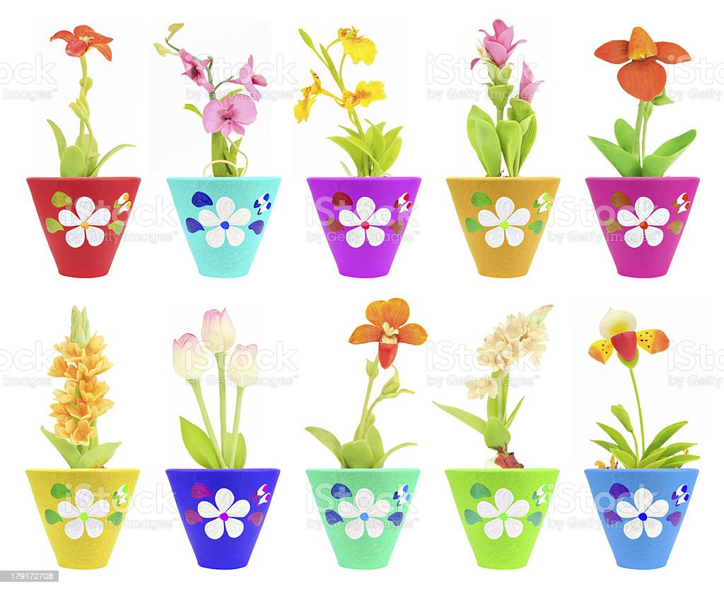 ten fake flower in the colorful flowerpot royalty-free stock photo