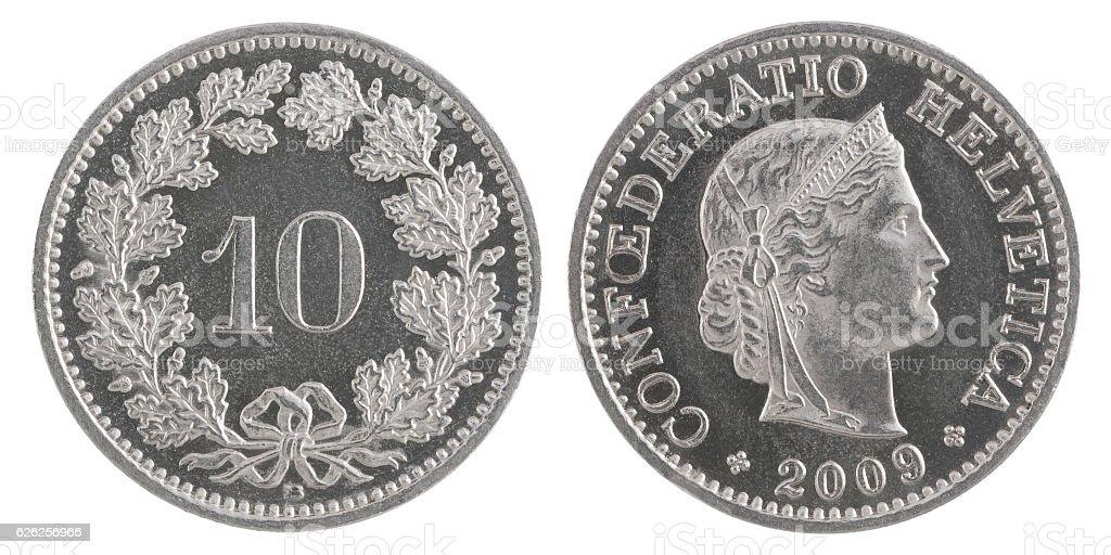 ten francs coin stock photo