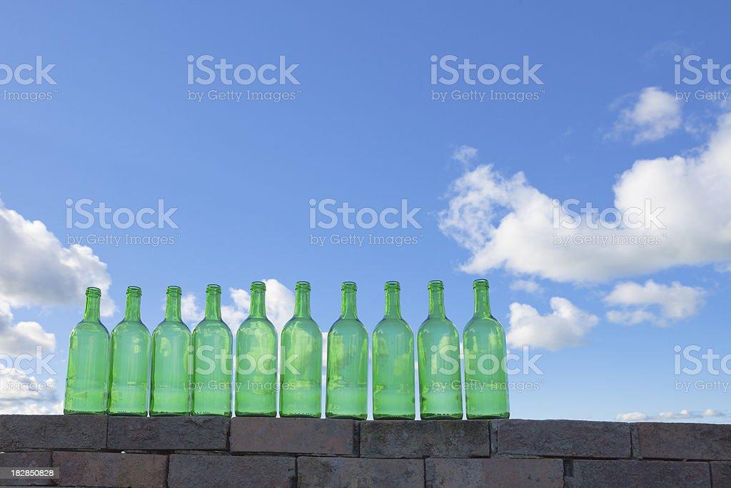 Ten Green Bottles Standing On A Wall stock photo