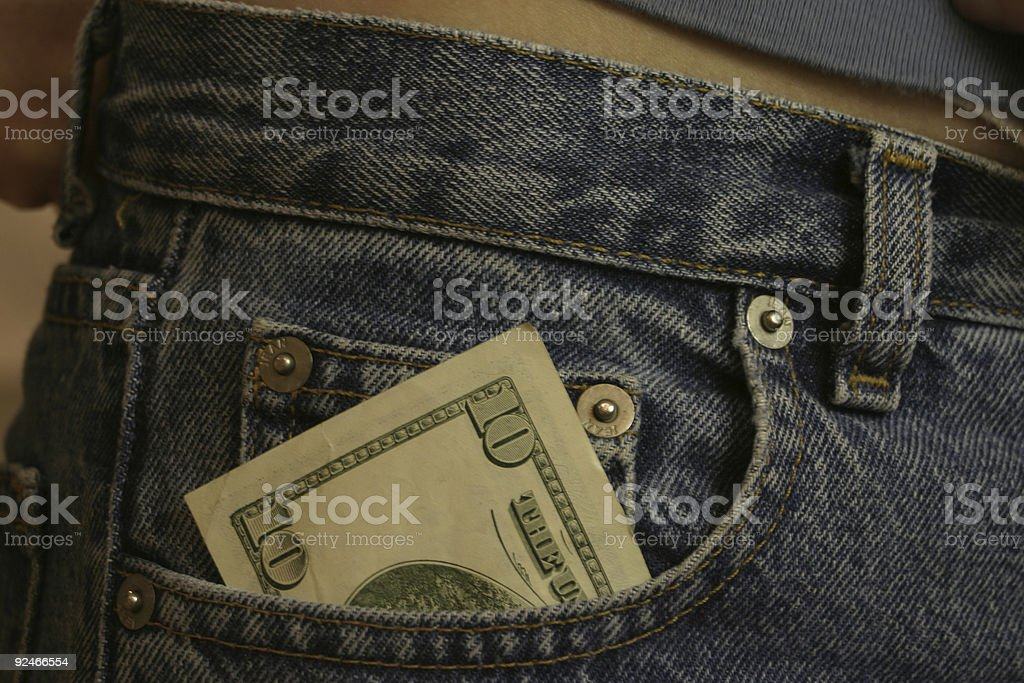 ten in the front pocket stock photo