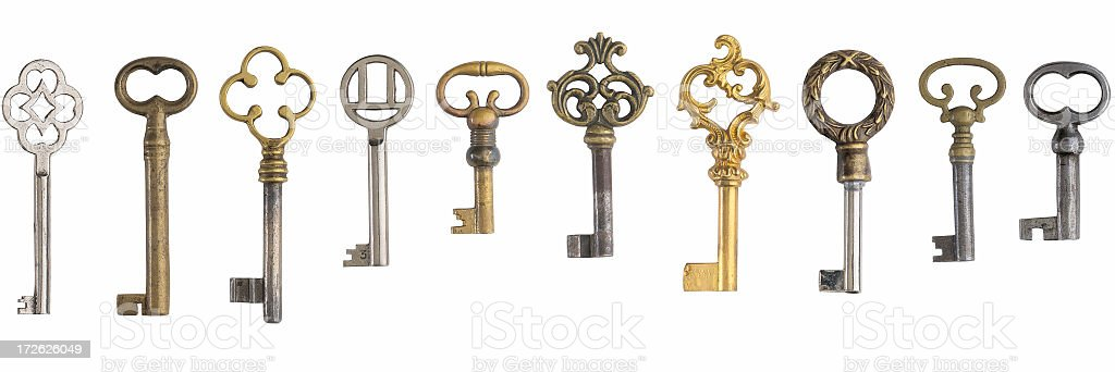 Ten keys on white background stock photo