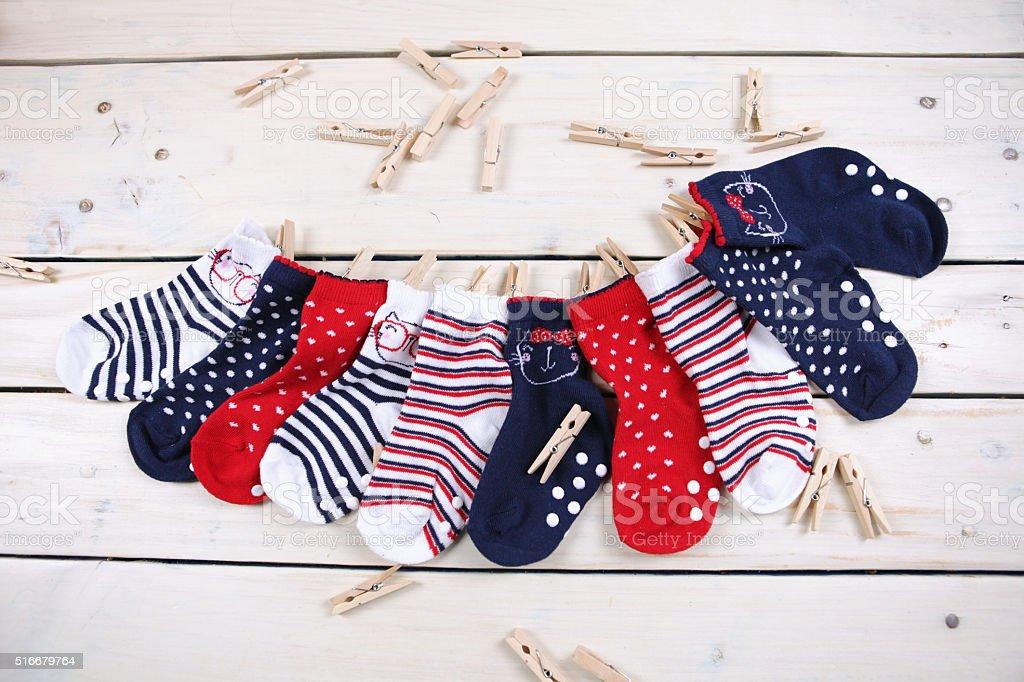 Ten kids socks stock photo