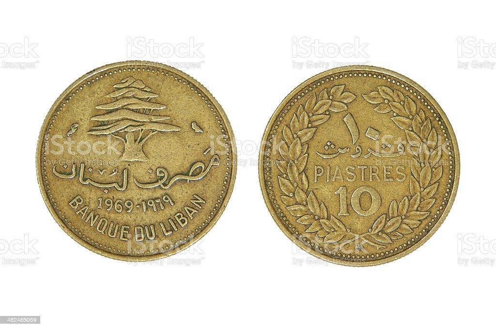 Ten lebanese piastres monet. stock photo