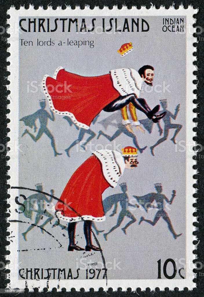 Ten Lords A Leaping Stamp stock photo