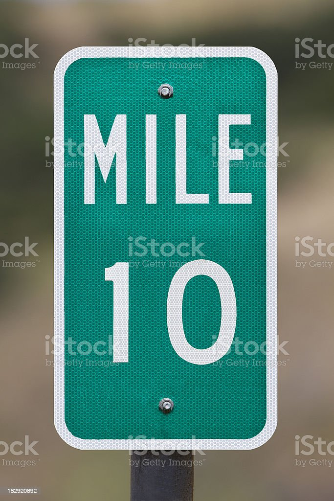 Ten Mile Marker Sign Post. stock photo