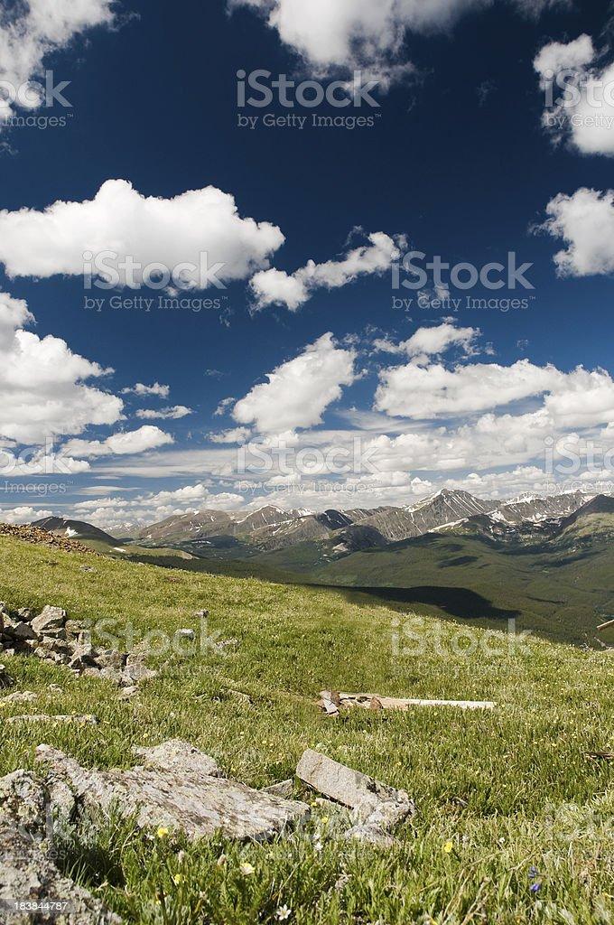 Ten Mile Range and a Mountain Meadow stock photo