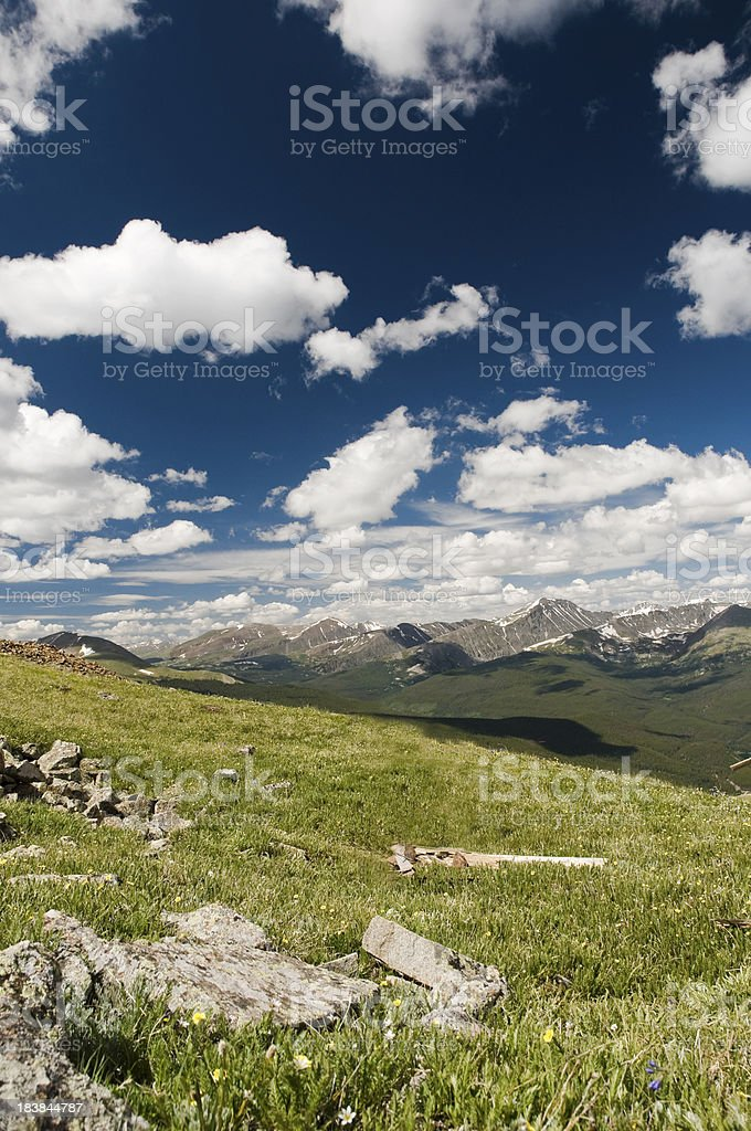 Ten Mile Range and a Mountain Meadow stock photo