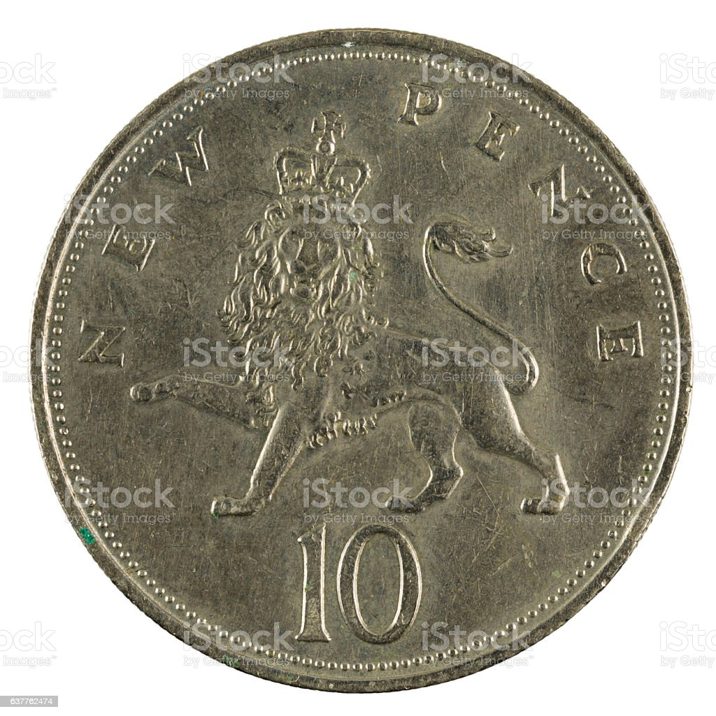 ten new british pence coin (1968) isolated on white background stock photo